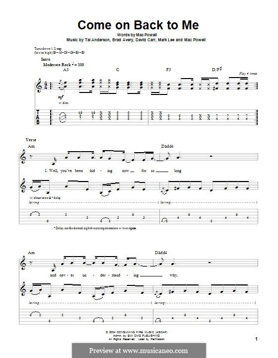 Come on Back To Me (Third Day): Гитарная табулатура by Brad Avery, Tai Anderson, David Carr, Mac Powell, Mark Lee