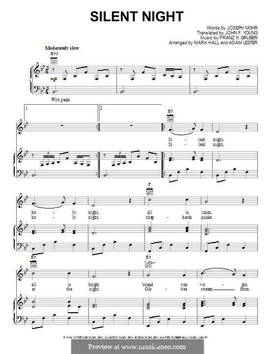 Тихая ночь (ноты для печати): Для голоса и фортепиано (или гитары) by Франц Ксавьер Грубер