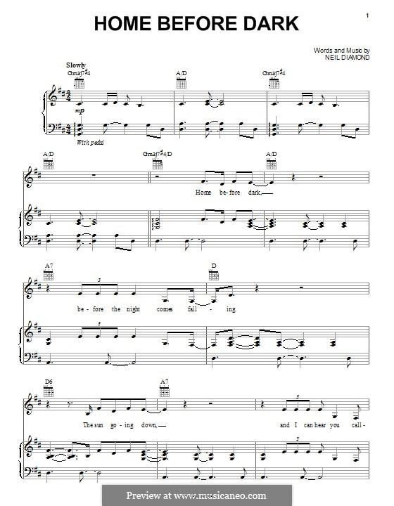 Home Before Dark: Для голоса и фортепиано (или гитары) by Neil Diamond