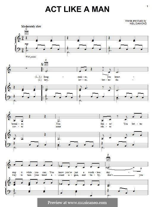 Act Like a Man: Для голоса и фортепиано (или гитары) by Neil Diamond