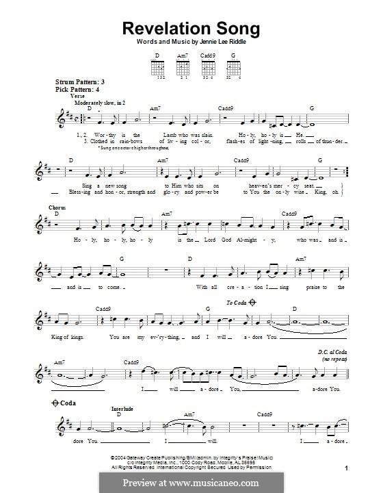 Revelation Song (Passion): Гитарная табулатура by Jennie Lee Riddle