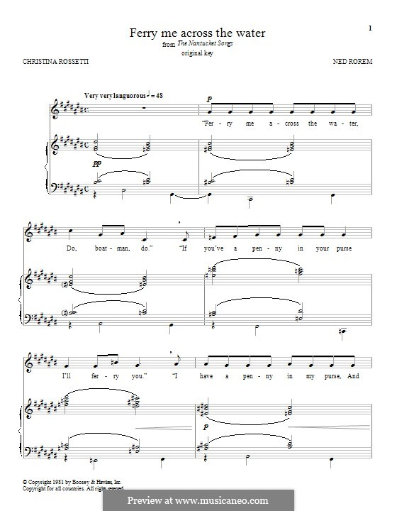 Ferry Me Across the Water: Для голоса и фортепиано (или гитары) by Ned Rorem