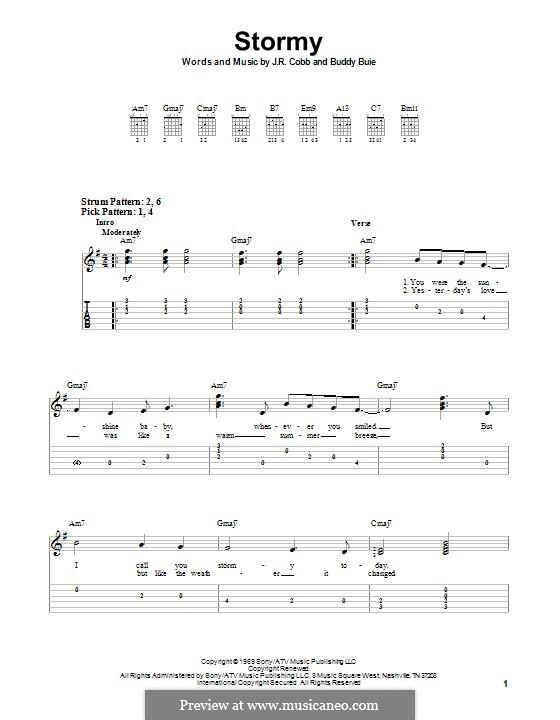Stormy (Classics IV): Гитарная табулатура by Buddy Buie, J.R. Cobb