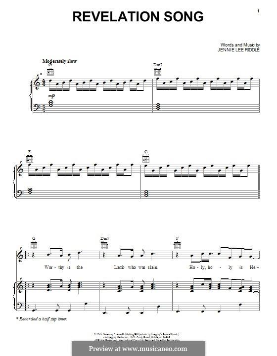 Revelation Song (Passion): Для голоса и фортепиано (или гитары) by Jennie Lee Riddle