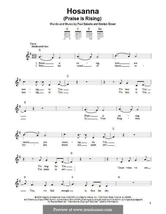 Hosanna (Praise is Rising): Гитарная табулатура by Paul Baloche, Brenton Brown