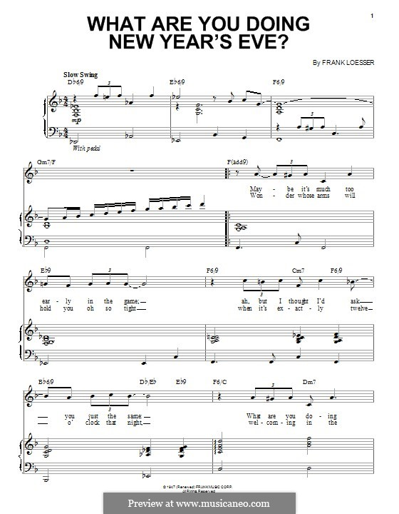 What are You Doing New Year's Eve?: Для голоса и фортепиано (или гитары) by Frank Loesser