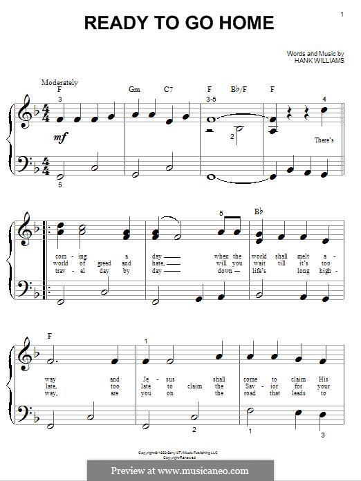 Ready To Go Home: Для фортепиано by Hank Williams