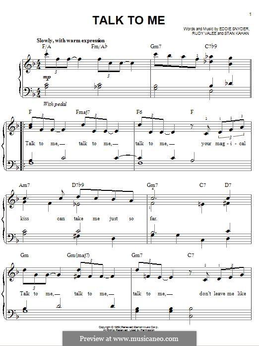 Talk To Me: Для фортепиано by Eddie Snyder, Rudy Valee, Stan Kahan
