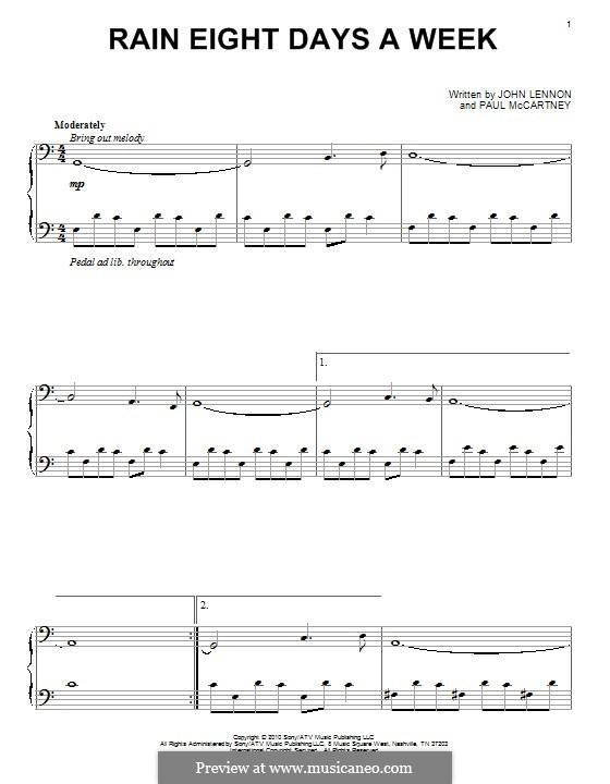 Rain Eight Days a Week: Для фортепиано by John Lennon, Paul McCartney