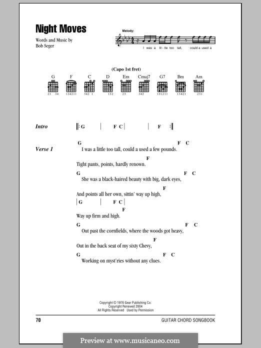 Night Moves: Текст, аккорды by Bob Seger