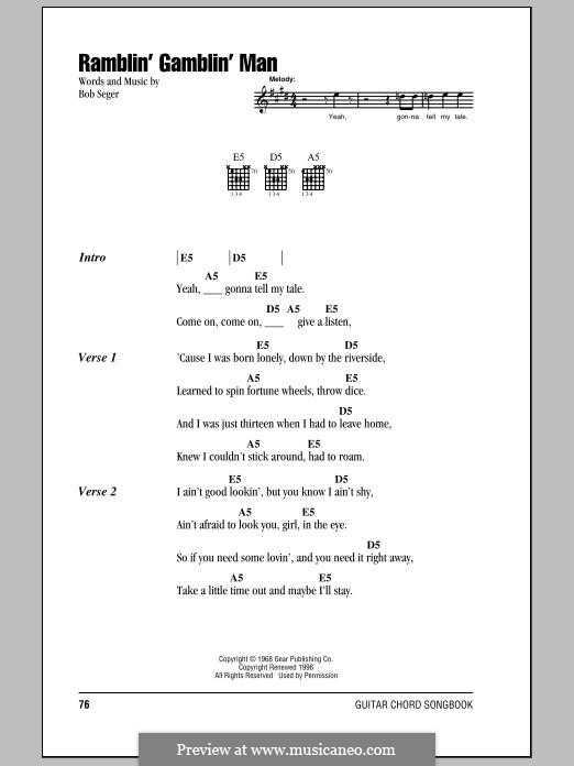 Ramblin' Gamblin' Man: Текст, аккорды by Bob Seger