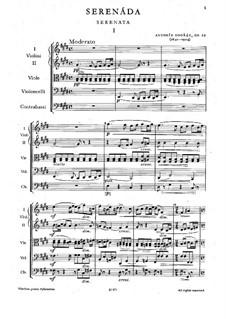 Серенада ми мажор, B.52 Op.22: Партитура by Антонин Дворжак
