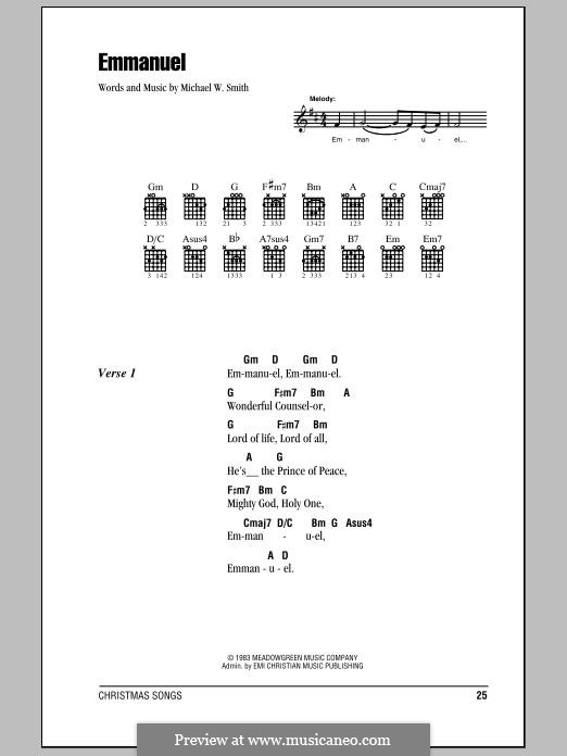 Emmanuel: Текст, аккорды by Michael W. Smith