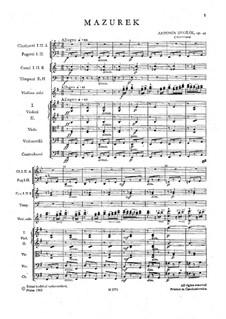 Мазурка ми минор, B.90 Op.49: Партитура by Антонин Дворжак