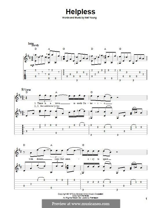 Helpless: Гитарная табулатура by Neil Young