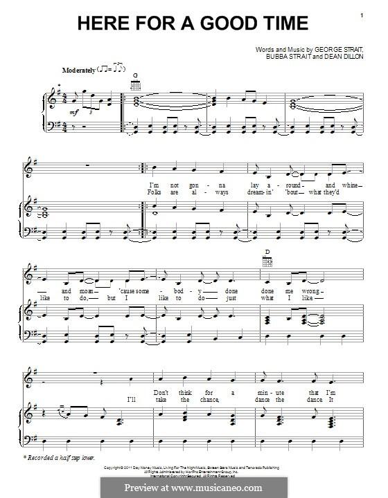 Here for a Good Time: Для голоса и фортепиано (или гитары) by Dean Dillon, George Strait, Bubba Strait