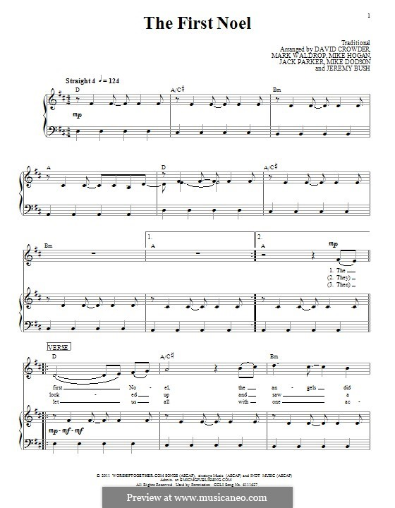 The First Nowell (The First Noël), Printable scores: Для голоса и фортепиано (или гитары) by folklore