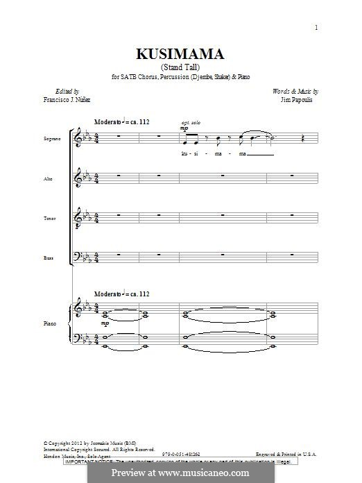 Kusimama (Stand Tall): Для смешанного хора by Jim Papoulis