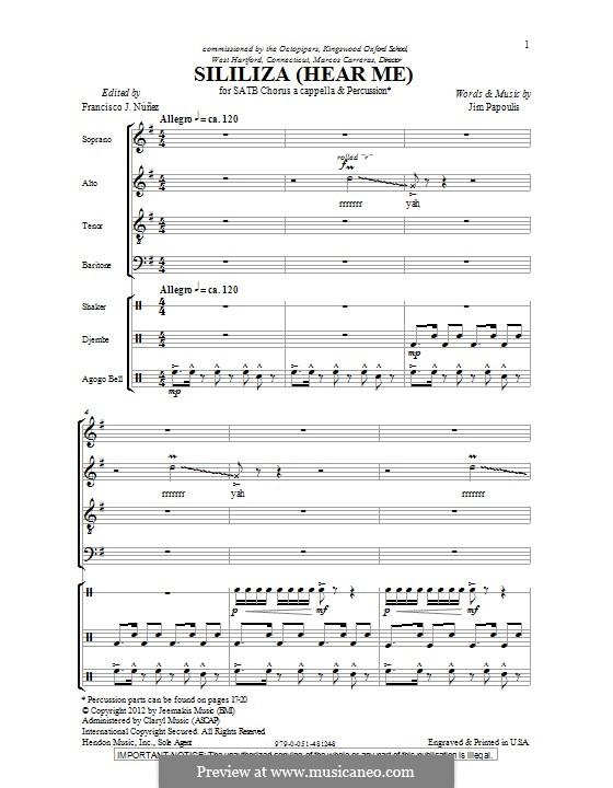 Sililiza (Hear Me): Для смешанного хора by Jim Papoulis