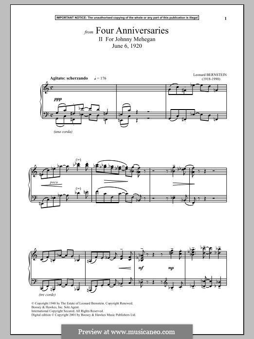 Four Anniversaries, II. For Johnny Mehegan, June 6, 1920: Для фортепиано by Леонард Бернстайн