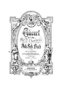Коцнрт для двух клавесинов и струнных No.2 до мажор, BWV 1061: Партия второго клавесина by Иоганн Себастьян Бах