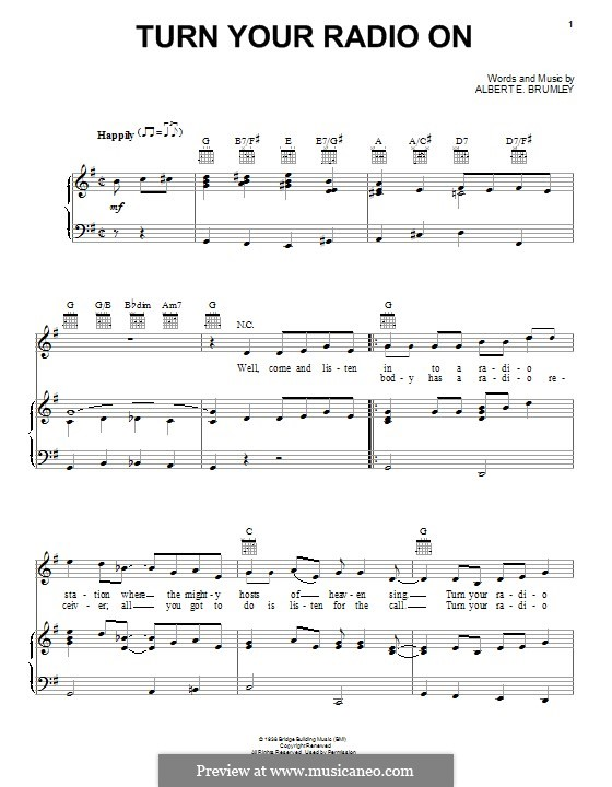 Turn Your Radio On: For voice and piano (or guitar) by Albert E. Brumley