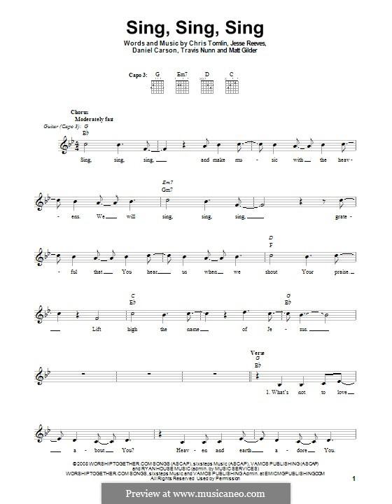 Sing, Sing, Sing: Гитарная табулатура by Chris Tomlin, Daniel Carson, Jesse Reeves, Matt Gilder, Travis Nunn