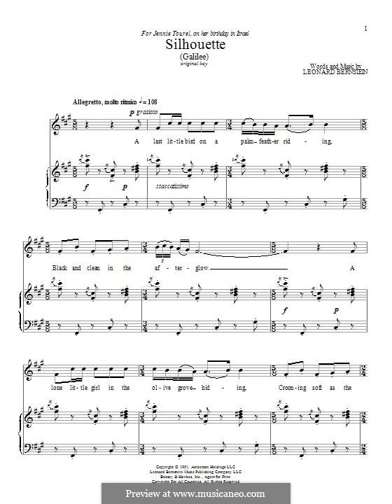 Silhouette (Galilee): Для голоса и фортепиано by Леонард Бернстайн