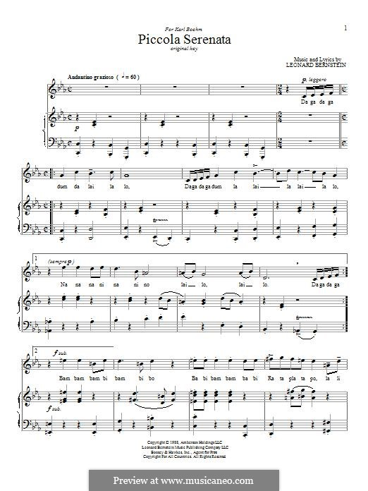 Piccola Serenata: Для голоса и фортепиано by Леонард Бернстайн