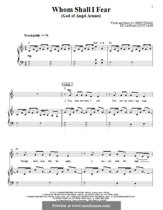 Whom Shall I Fear (God of Angel Armies): Для голоса и фортепиано (или гитары) by Chris Tomlin, Ed Cash, Scott Cash