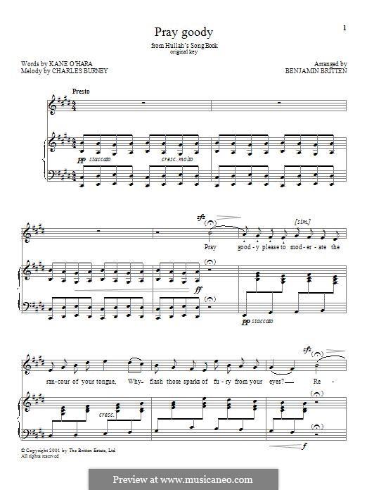 Pray goody: Для голоса и фортепиано by Charles Burney