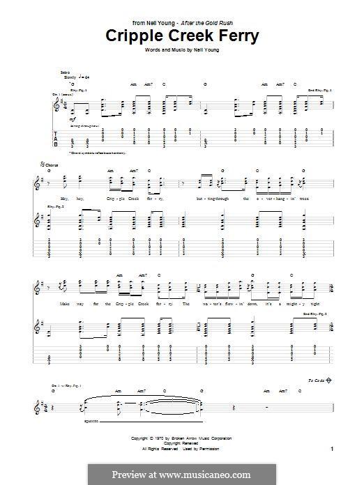 Cripple Creek Ferry: Гитарная табулатура by Neil Young