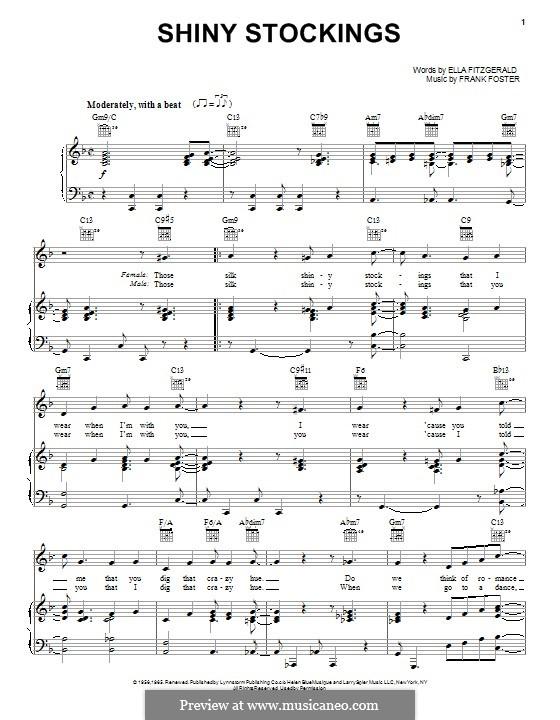 Shiny Stockings: Для голоса и фортепиано (или гитары) by Frank Foster