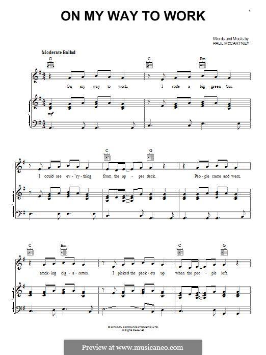On My Way To Work: Для голоса и фортепиано (или гитары) by Paul McCartney