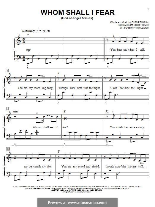 Whom Shall I Fear (God of Angel Armies): Для фортепиано by Chris Tomlin, Ed Cash, Scott Cash