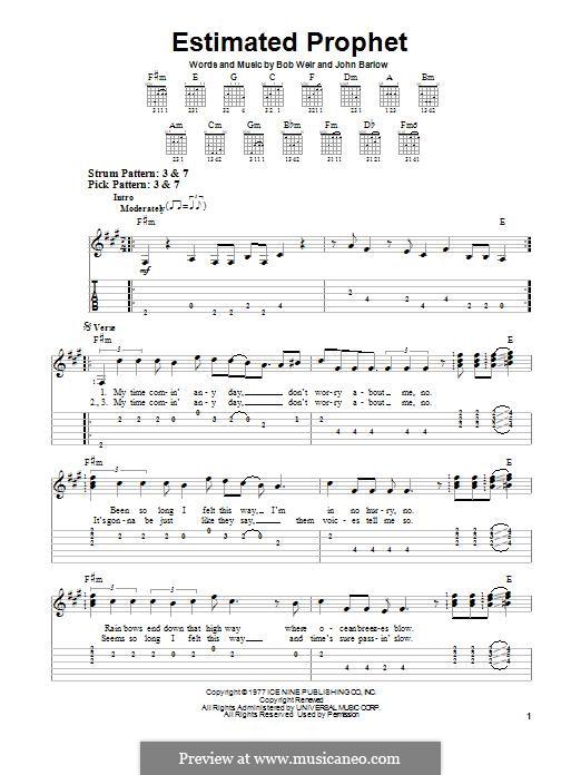 Estimated Prophet (Grateful Dead): Гитарная табулатура by Bob Weir, John Barlow