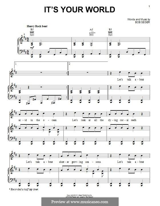 It's Your World: Для голоса и фортепиано (или гитары) by Bob Seger
