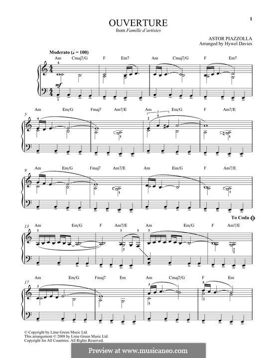 Ouverture: Для фортепиано by Астор Пьяццолла