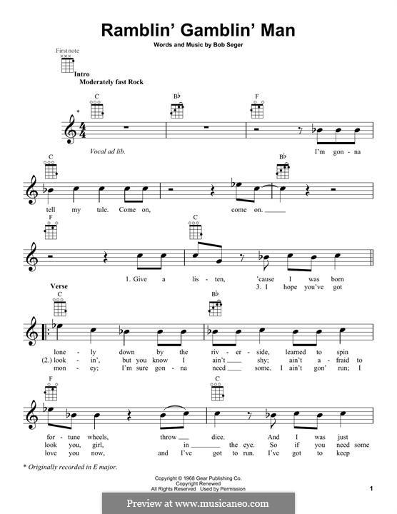 Ramblin' Gamblin' Man: Для укулеле by Bob Seger