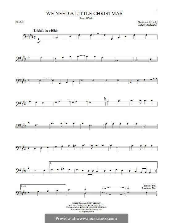 We Need a Little Christmas: Для виолончели by Jerry Herman