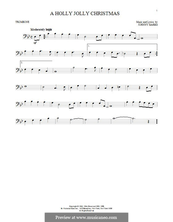 A Holly Jolly Christmas: For trombone by Johnny Marks