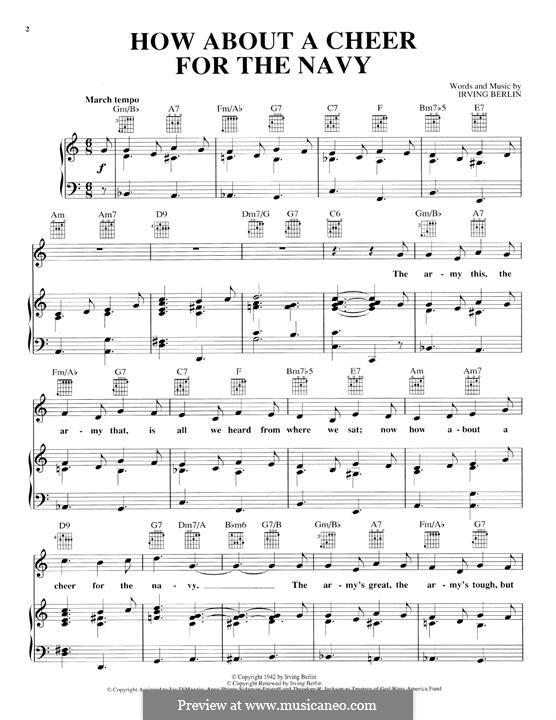 How About a Cheer for the Navy: Для голоса и фортепиано (или гитары) by Ирвинг Берлин
