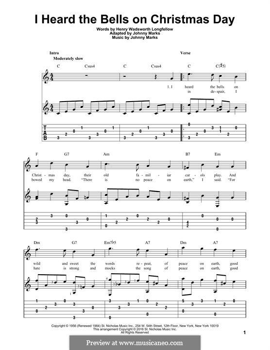 I Heard the Bells on Christmas Day: Гитарная табулатура by Johnny Marks
