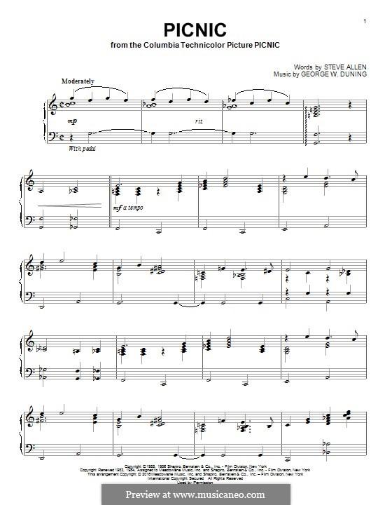 Picnic: Для фортепиано by George Duning