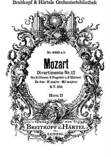Дивертисмент No.12 ми-бемоль мажор, K.252: Партия II валторны by Вольфганг Амадей Моцарт