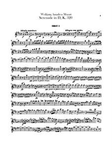Серенада для оркестра No.9 ре мажор 'Posthorn', K.320: Партии гобоев by Вольфганг Амадей Моцарт