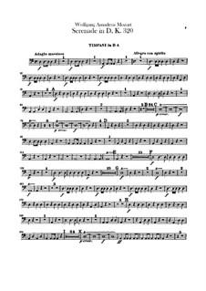 Серенада для оркестра No.9 ре мажор 'Posthorn', K.320: Партия литавр by Вольфганг Амадей Моцарт