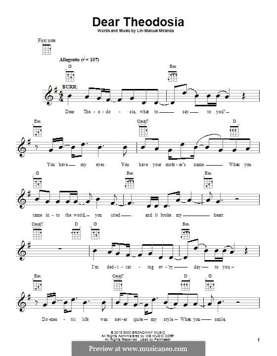 Dear Theodosia: Для укулеле by Lin-Manuel Miranda