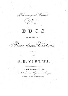 Три дуэта для двух cкрипок, WIV 28-30 Op.9: Партии by Джованни Баттиста Виотти