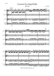 Concerto for Strings in B Flat Major, RV 165: Score and parts by Антонио Вивальди